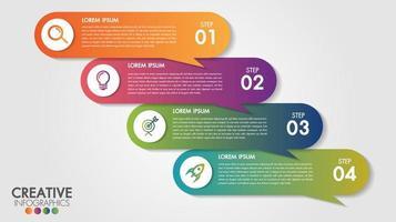 Infográficos modelo 4 passo negócios banner design vetor