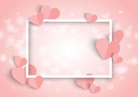 Dia dos namorados coração rosa fundo, moldura branca e papel cortado em forma de coração vetor