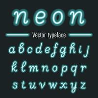 Fonte de alfabeto desenhado mão neon brilhante.