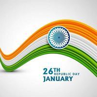 Fundo de onda indiana para o dia da república vetor