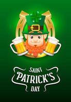 Cartaz de feliz dia de São Patrício com duende e cerveja
