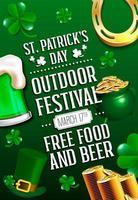 cartaz do dia de São Patrício com cerveja verde, caldeirão, ferradura e moedas