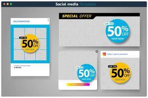 Banner definido para modelos de mídia social vetor
