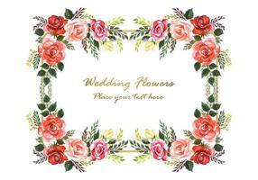 Convite de casamento flores decorativas e moldura de ouro com espaço para texto vetor