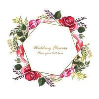 Convite de casamento com flores decorativas por trás do quadro geométrico vetor