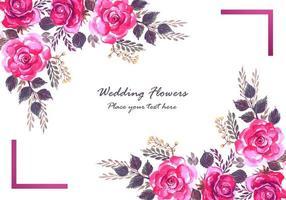 Flores coloridas decorativas e cartão de moldura roxa vetor