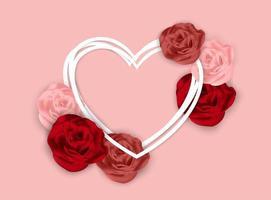 Fundo de dia dos namorados rosa com rosas e moldura de coração em camadas vetor