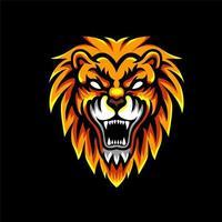 Distintivo de personagem de esportes de cabeça de leão vetor