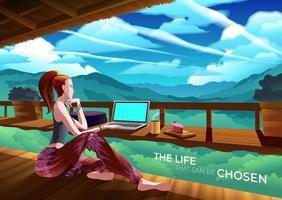 Mulher que trabalha em um café no penhasco entre cenário de montanha vetor