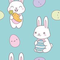 Kawaii padrão sem emenda de Páscoa com um coelhinho fofo e ovos vetor