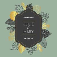 Cartão de casamento Floral dourado e cinza com moldura arredondada, com espaço para texto