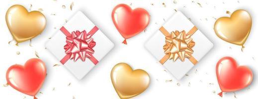 Banner com balões de coração e presentes