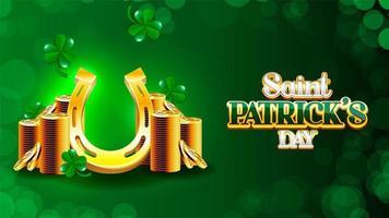 Cartaz do dia de São Patrício com ferradura e pilhas de moedas