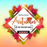 Cartão de venda outono com moldura de diamante e folhas coloridas vetor