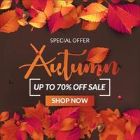 fundo de banner de venda outono com folhas de outono vetor