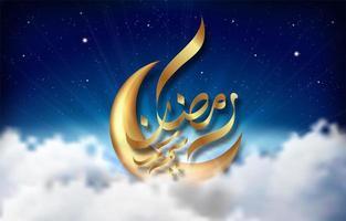 Design de Ramadan Kareem com lua de ouro no céu vetor
