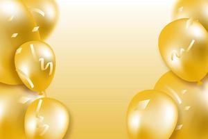 Banner de celebração de confetes e balões de ouro vetor