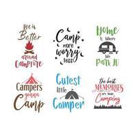 Citação de acampamento letras conjunto de tipografia