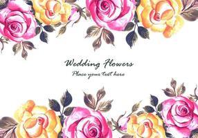 Fundo de cartão de flores coloridas de casamento romântico vetor
