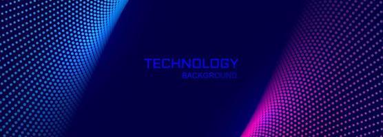 Fundo de banner de tecnologia com conexão design pontilhado vetor