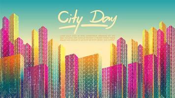 Cidade colorida durante o dia com texto vetor