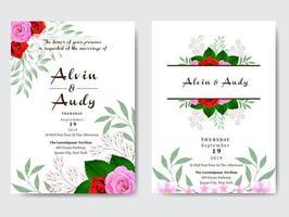 cartão de convite de casamento aquarela rosa fronteira