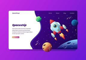 Nave espacial no espaço Landing Page vetor