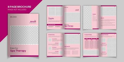 Modelo de vetor de design de brochura de 8 páginas de spa