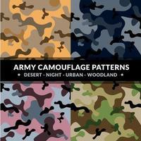 conjunto de padrão de camuflagem do exército vetor
