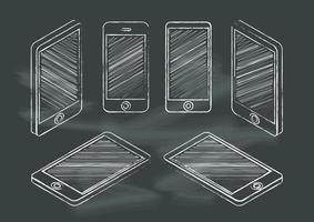 Conjunto de telefones celulares lousa no quadro-negro vetor