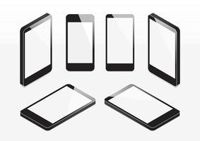 Conjunto de telefones celulares isométricos vetor