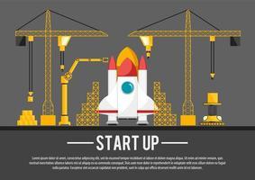 Construção de nave espacial plana arranque ilustração vetor