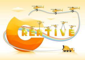 Texto criativo com tubo de arco-íris, caminhão de cimento e voando com helicópteros amarelos vetor