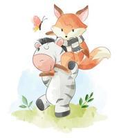 raposa bonito dos desenhos animados, montando na zebra