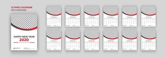 Calendário de parede de 12 páginas 2020 com capa vetor