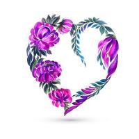 Cartão de dia dos namorados com fundo de coração flor colorida vetor