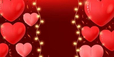 Banner do dia dos namorados com corações e cordas de luz vetor