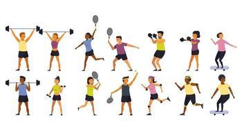 Pessoas exercício e fitness cartoon conjunto