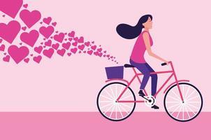 Mulher andando de bicicleta dos desenhos animados com corações vetor