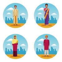 conjunto de homens e mulheres indianos vetor