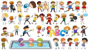 Conjunto de desenhos animados de caráter de crianças vetor