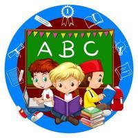 Meninos lendo livros juntos vetor