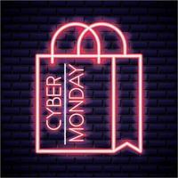 Cyber segunda-feira sinal de néon