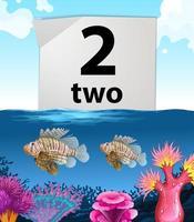 Número dois e dois peixes no fundo do mar vetor
