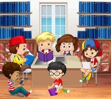 Meninos e meninas lendo na biblioteca vetor