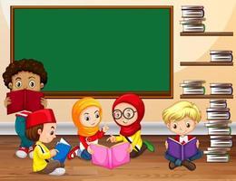 Crianças lendo livro em sala de aula vetor