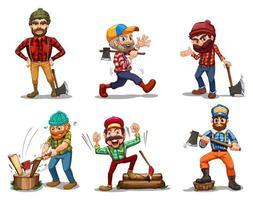 Seis lenhadores com machados vetor