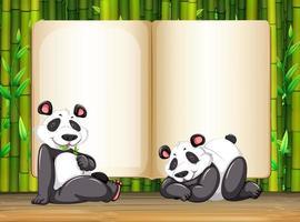 Modelo de fronteira com dois panda e bambu vetor