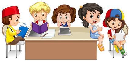 Alunos lendo livros em sala de aula vetor