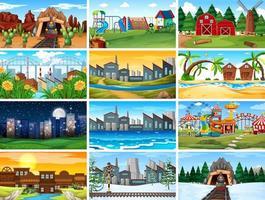 Conjunto de cenas na natureza com edifícios vetor